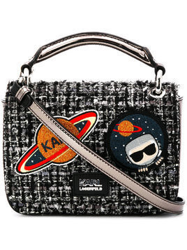Karl Lagerfeld K/Space tweed shoulder bag - Black