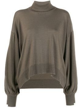 Maison Flaneur cropped asymmetric roll neck jumper - Brown