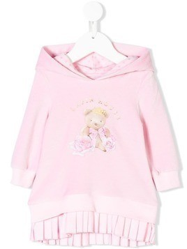 Lapin House pleated printed hoodie dress - Pink