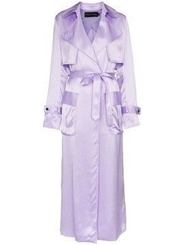 Michael Lo Sordo belted silk trench coat - Pink & Purple