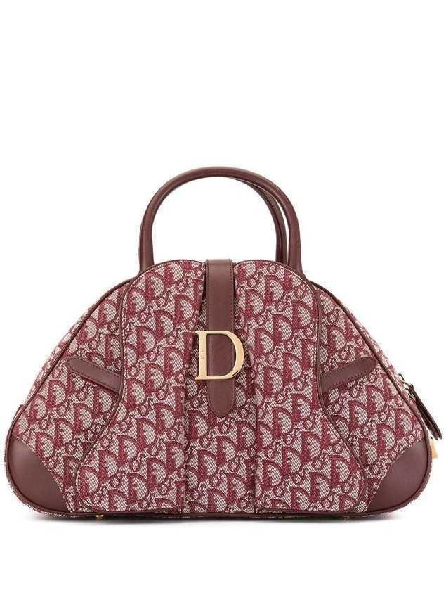 Christian Dior Pre-Owned Trotter pattern saddle hand bag - Red