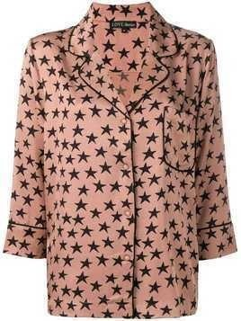 Love Stories star print pajama shirt - Brown