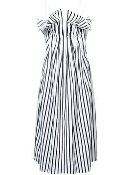 Adam Lippes ruched striped dress - Black