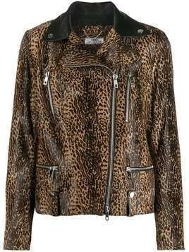 Desa 1972 leopard-print biker jacket - Brown