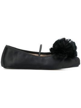 Giambattista Valli floral applique ballet shoes - Black