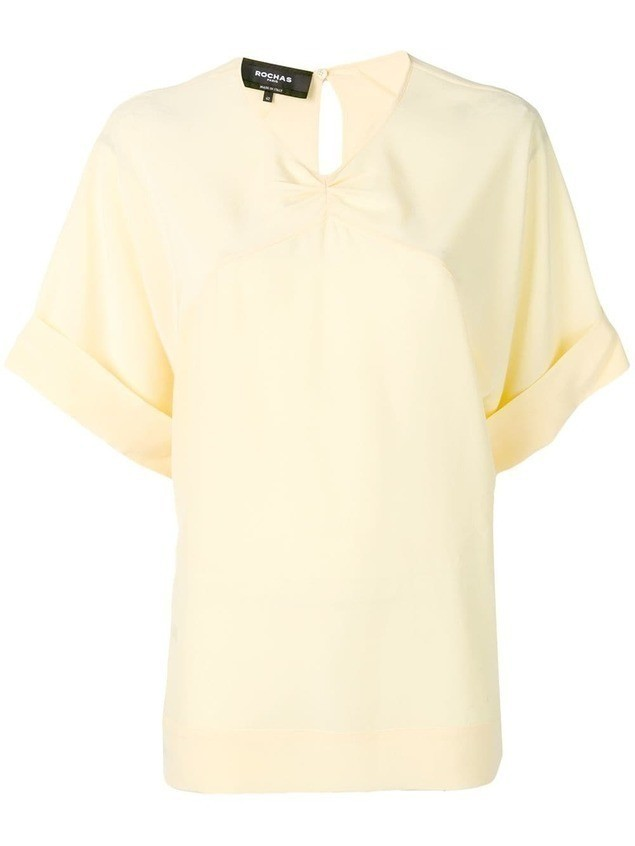 Rochas v-neck boxy blouse - Yellow