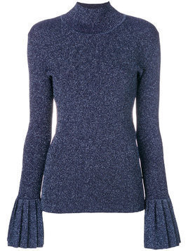 Carven peplum-cuff fitted jumper - Blue