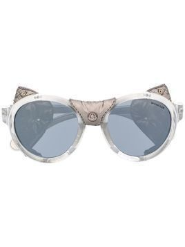 Moncler Eyewear studded leather sunglasses - SILVER