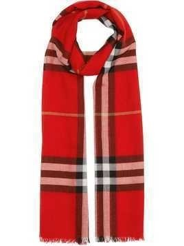 Burberry Lightweight Check Wool and Silk Scarf - Red