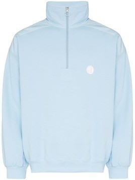 Jacquemus zip neck stand collar sweater - Blue