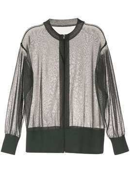 Kuho sheer zip front cardigan - Green