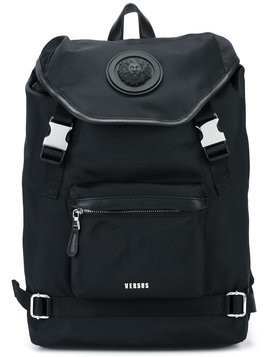 Versus - strap fastening backpack - Herren - Nylon/Calf Leather/Cotton - One Size - Black