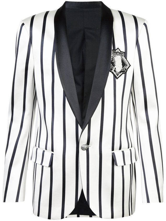 Balmain embroidered striped blazer - Black