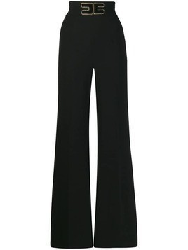 Elisabetta Franchi logo patch palazzo trousers - Black