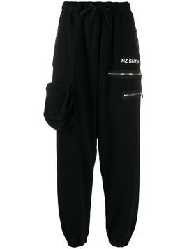Natasha Zinko high-waist multipocket track pants - Black