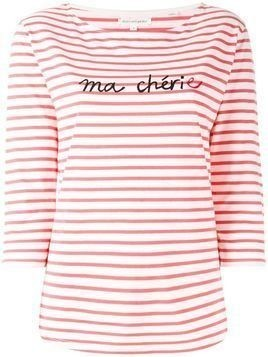 Chinti & Parker slogan striped top - White