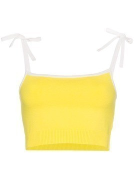JoosTricot ribbed strappy silk-blend croptop - Yellow