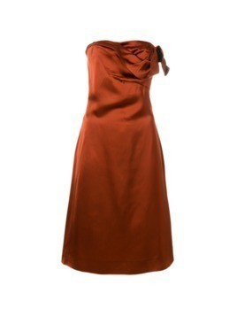 Versace Vintage draped strapless dress - Brown