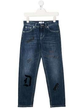 Dondup Kids all-over logo straight-jeans - Blue