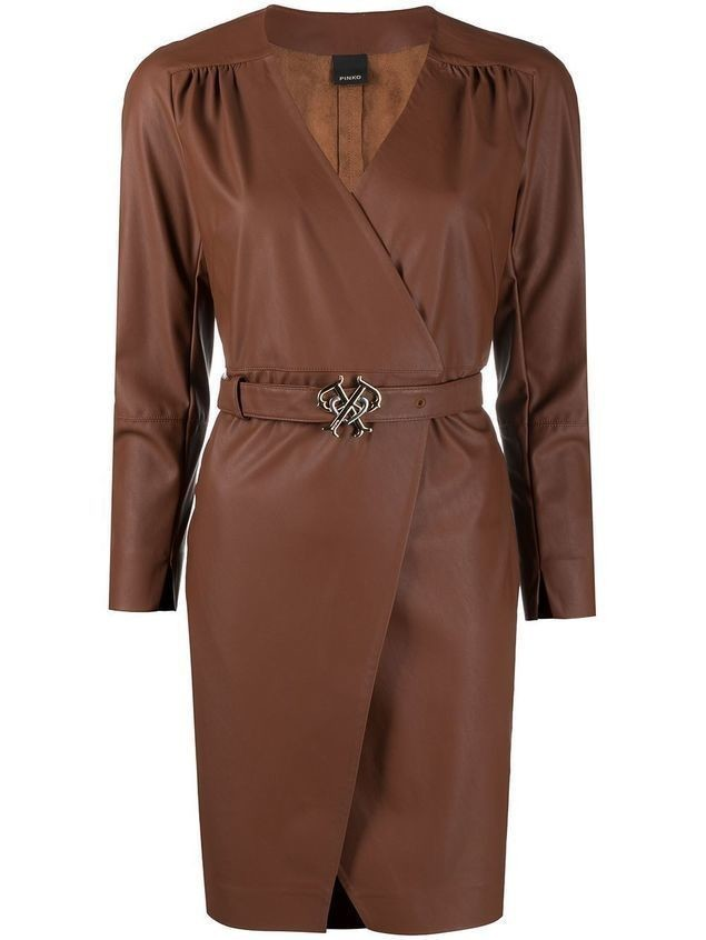 Pinko faux-leather belted wrap dress - Brown