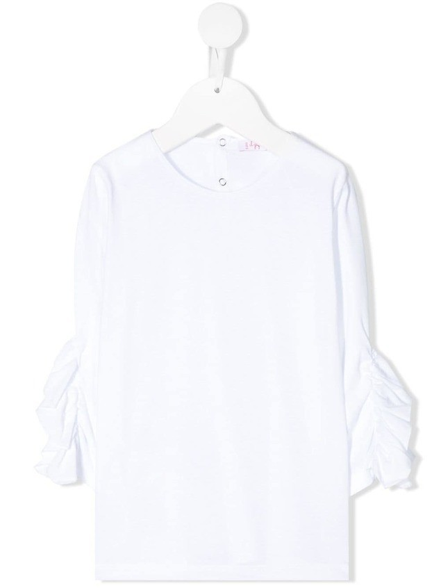 Il Gufo ruffled cropped sleeves blouse - White