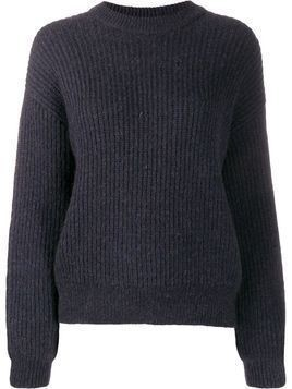 Closed long-sleeve ribbed jumper - Blue