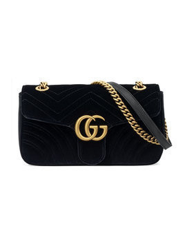 Gucci - GG Marmont velvet shoulder bag - Damen - Velvet/metal - One Size - Black