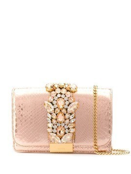 Gedebe Clicky snakeskin effect clutch - Pink