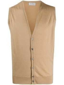 John Smedley wool sleeveless cardigan - NEUTRALS
