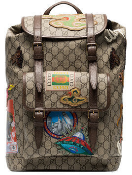 Gucci beige and brown GG multi-patch backpack - Multicolour