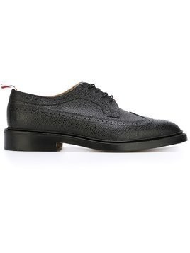 Thom Browne Classic Longwing Brogue with Leather Sole - Black