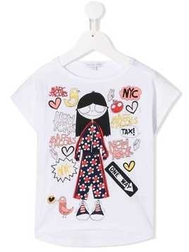 Little Marc Jacobs Miss Marc print top - White