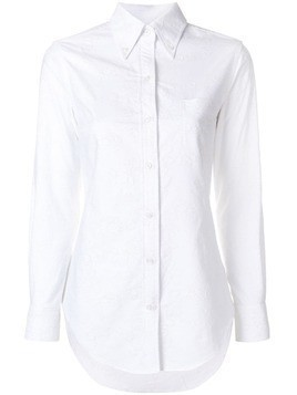 Thom Browne Flower Embroidery Button Down Shirt - White
