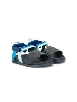 Fendi Kids logo embossed open toe sandals - Blue