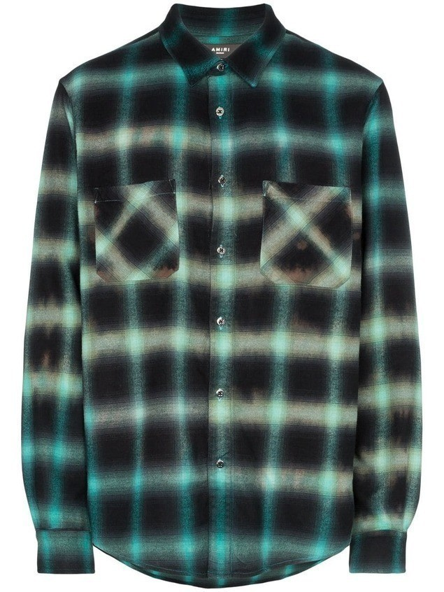 Amiri check pattern shirt - ACQUA/GLACIER