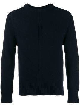 Thom Browne Navy Intarsia Stripe Crewneck Pullover - Blue