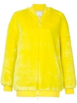Tibi Luxe faux fur track jacket - Yellow