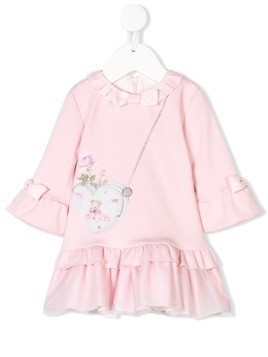 Lapin House ruffled trompe l'oeil mini dress - Pink & Purple
