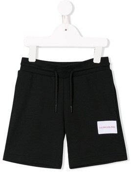 Calvin Klein Kids logo patch shorts - Black