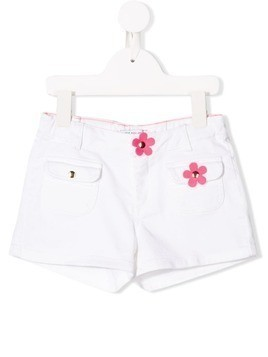 Little Marc Jacobs flower detail denim shorts - White