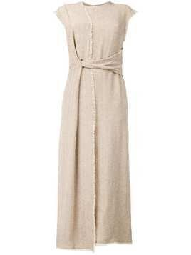 Dusan herringbone wrapped dress - Neutrals