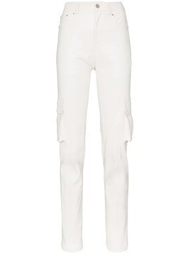 Blindness slim fit faux leather trousers - White
