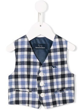 Harmont & Blaine Junior single breasted checked waistcoat - Blue