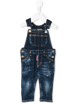 Dsquared2 Kids distressed denim dungarees - Blue