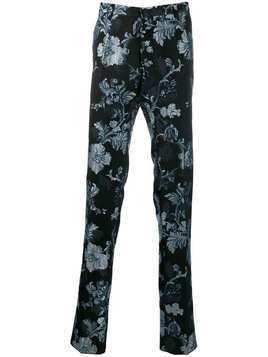 Christian Pellizzari floral jacquard trousers - Blue