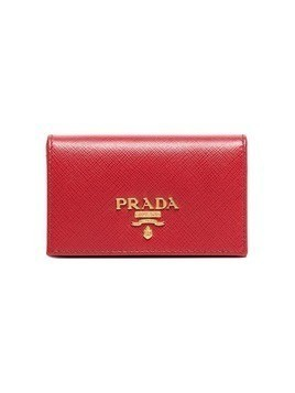 Prada red small logo leather wallet