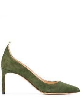 Francesco Russo textured pointed toe pumps - Green