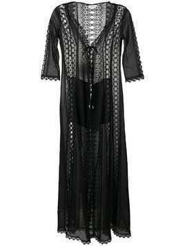 Charo Ruiz long embroidered cover up - Black