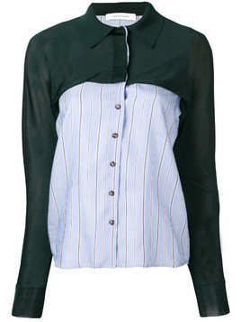 Cédric Charlier panelled shirt - Green