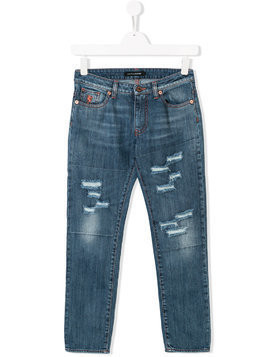 European Culture Kids TEEN distressed-effect jeans - Blue